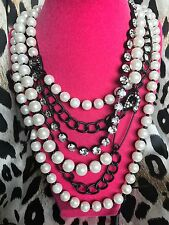 Betsey Johnson Vintage School Girl Glass Pearl Black Safety Pin HUGE Necklace