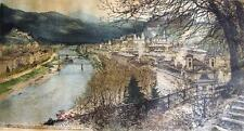 Luigi Kasimir Salzburg city view Alexander von Humboldt etching aquatint signed
