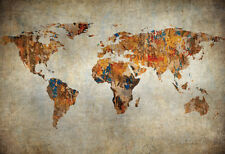 Grunge Map Of The World Poster Print, 19x13 World Map