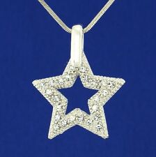 "Dazzling Star Wish W Swarovski Crystal Pendant Necklace Charm 18"" Chain"