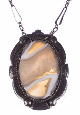 Russian Sterling Silver Gray and White Bezel Agate Necklace
