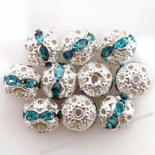 100pcs Lots New Blue Rhinestones Round Spacer Bead Findings Jewelry Making 8mm C