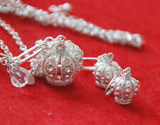 "Crown Necklace & Earrings / White~Silver-tone Base w Clear Crystals / 18"" Chain"