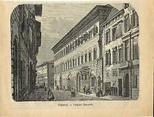 Stampa antica FIRENZE Palazzo Medici Riccardi 1887 Old antique print Florence