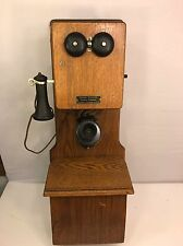 Oak Chicago Double Box Wooden Wall Antique Telephone Magneto Rings Great Shape