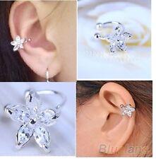 NiX 1222-S 1 PC. Clover Crystal CZ Flower Silver Ear Cuff Earring Clip For Women