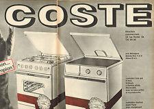 Publicité 1964  (Double page)  COSTE cuisinière tous gaz - cuisinière charbon