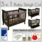 5 In 1 WALNUT Baby Sleigh Cot and Toddler Bed with Mattress