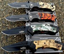 4 Camo Spring Assisted Pocket Knife, Knives Hunting Outdoor Wholesale Lot-