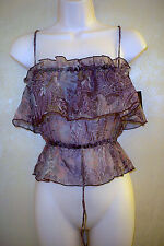 baby phat Jean Co. sheer paisley tube top blouse womens S NWT