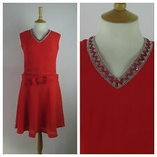 ORIGINAL VINTAGE 1960s Red A LINE Shift Dress 60s MINI PARTY MOD Embellished 12