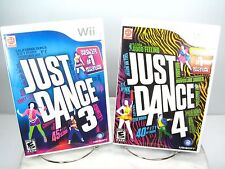 JUST DANCE 3 JUST DANCE 4 LOT NINTENDO Wii GAME Bundle & INSTRUCTIONS