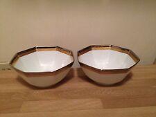 2 Fitz & Floyd Platine d'Or Octagonal Bowls