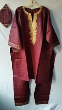African Clothing Men's Pant Suit Ethnic Outfit Brocade Print Maroon Free Size