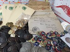 ESTATE LOT WWI WW1++SILVER+PINS+BUTTONS+MILITARIA+STAMPS+COINS+LETTERS/CARDS#%25