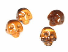 16X13MM COGNAC TIGER EYE GEMSTONE YELLOW CARVED SKULL HEAD LOOSE BEADS 6 BEADS