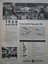 7/1958 PUB GE GENERAL ELECTRIC AIRCRAFT ENGINES GAS TURBINES MOTEUR GERMAN AD