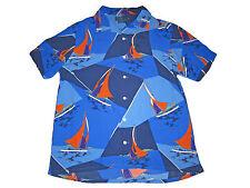 Polo Ralph Lauren Blue Hawaiian Sailing Regatta Camp Full Button Shirt XXL 2XL