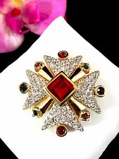 DAZZLING SWAROVSKI SWAN 18K GOLD MULTICOLORED RHINESTONE MALTESE CROSS BROOCH