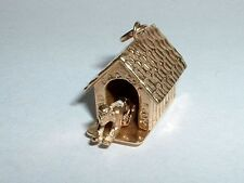 VINTAGE 14k YELLOW GOLD MOVEABLE BAD BOY IN THE DOG HOUSE PENDANT CHARM