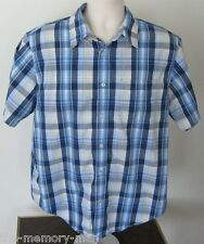 Levi's Red Tab Western Blue Plaid Short Sleeve Button Front Shirt L Large