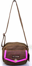 NEW GIRLS LADIES LYDC ANNA SMITH LEATHER STYLE CROSSBODY SHOULDER BAG BROWN