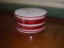 BURTON & BURTON 25 YD. SPOOL MESH RED/WHITE STRIPE RIBBON-NEW