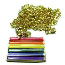 Gay Pride Flag Enameled Pendant with Gold-Tone Chain   (po10)
