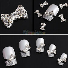 Fantastic 10pcs 3D Clear Alloy Rhinestone Bow Tie Nail Art Slices DIY Decoration