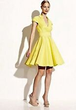NEW BETSEY JOHNSON $128 YELLOW CAP SLEEVE SURPLICE DRESS SZ 8