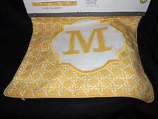 """Threshold Monogram Pillow Cover, """"M"""" 18"""" x 18"""", Yellow - NEW"""