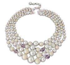 Japan Vintage Necklace Mint Green Bead 4 Strand 16 inch Choker Boho Jewelry 363d