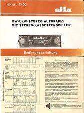 Betriebsanleitung Auto RADIO elta Modell 7100 Mw UKW stereo mit Kasettenspieler