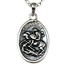 "Sterling Silver St George Pendant Necklace with 18"" Chain & Gift Box"