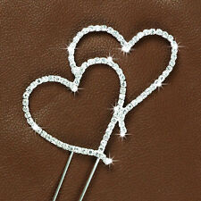 Diamante Rhinestone Gem Cake Pick Toppers Birthday Anniversary Silver LOVE HEART