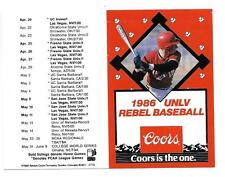 1986 UNLV Rebel Baseball Unfolded Pocket Schedule-Coors Beer!