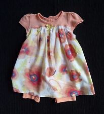 Baby clothes GIRL 6-9m peach,yellow,white floral/poppy short sleeve dress/romper