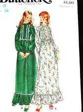 FAB VTG 70s VICTORIAN EVENING GOWN PROM DRESS MAXI Misses Sewing Pattern 6450 12