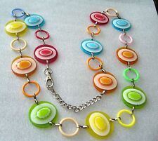 Vintage early plastic & nickel 1960s bright sparkling long chain necklace / belt