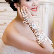 Bridal Sexy Lace Crystal Flower Rhinestones Fingerless Gloves Wedding Party New