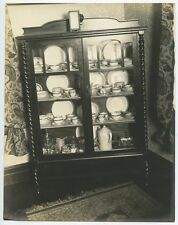 ANTIQUE CHINA CABINET W/ FINELY CARVED WOOD, DISHES   GLASSWARE VINTAGE PHOTO