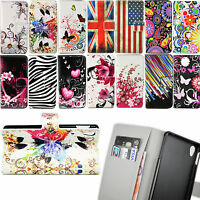 Flip Stand Holder PU Leather Card Wallet Pouch Cover Case For Sony Xperia Phone