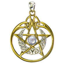 Sterling Silver Gold Plated Crescent Moon Pentacle Pentagram Pendant Moonstone