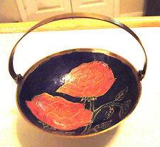 NEW BRASS CANDY/TRINKET ENAMEL DISH WITH HANDLE~FLOWERS WITH PURPLE BACKGROUND