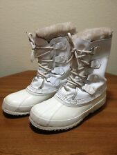 SOREL Manitou White Wool  Insulated Lace Fashion Canada Snow Boots Womans 7?