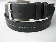 New Mens Casual Dress Leather Belt 1Prong Silver Color Buckle Black Brown 1 1/2""