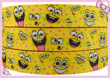 5yards 1''(25mm) printed Sponge Bob  grosgrain ribbon Hair bow,diy