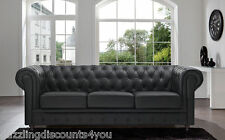 Chesterfield Black Sofa Bonded Leather Tufted Button Scroll Arm Rest