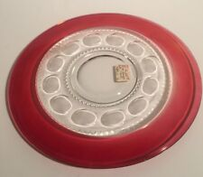Kings Crown Flash Ruby Cranberry Thumbprint Serving Platter Cake Plate 13""