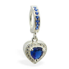TummyToys CZ Heart Charm Silver Belly Ring sexy body jewelry for your navel